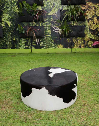 Image of Black & White Cowhide Ottoman Round Deep Drum 90x90x38cm