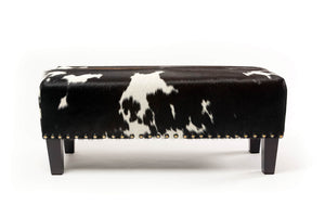 Cowhide Ottoman with Wood Legs and Studs 100x40x40cm