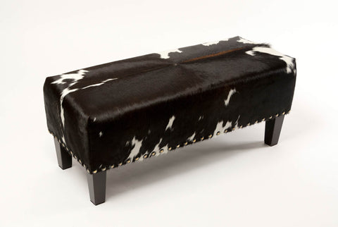 Image of Cowhide Ottoman with Wood Legs and Studs 100x40x40cm