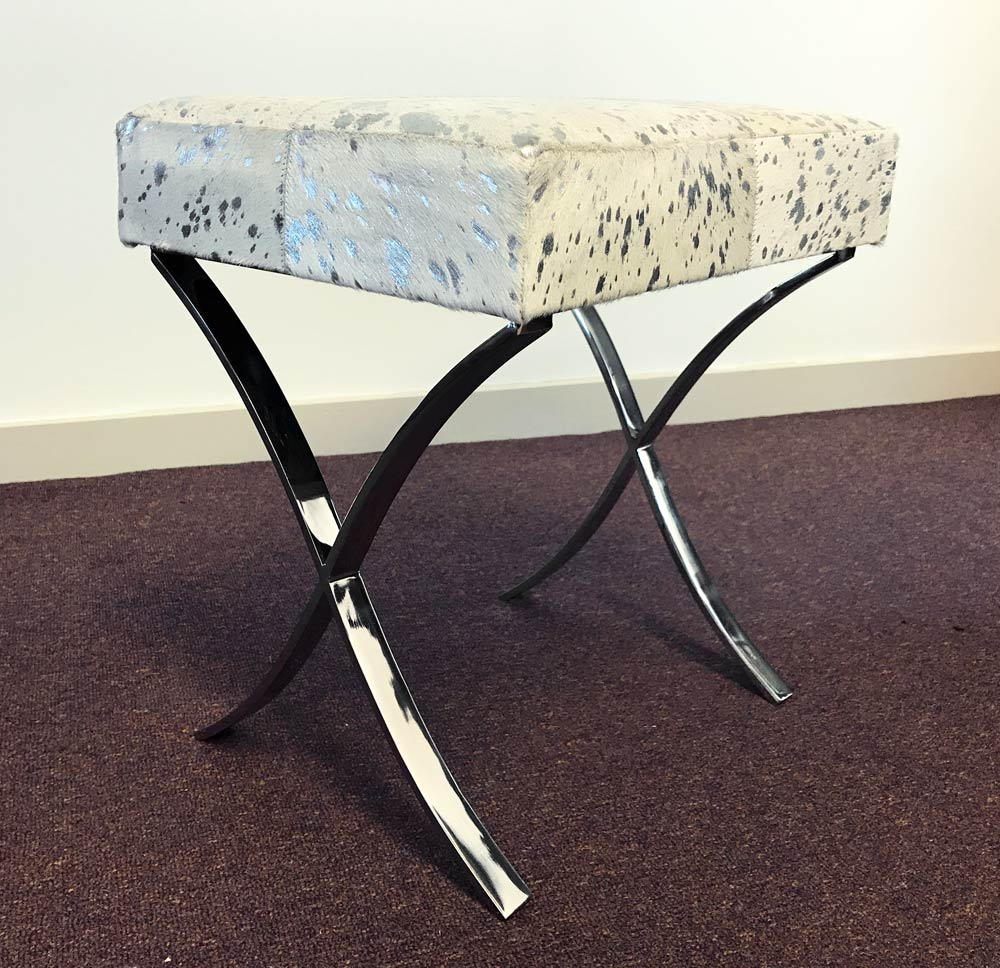 White & Silver Cowhide Stool with Metal Legs