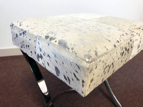 Cowhide Stool with Metal Legs 41x33.5x44cm