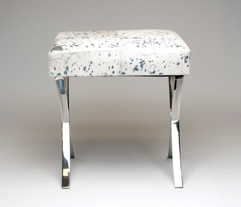 Image of White & Silver Cowhide Stool with Metal Legs