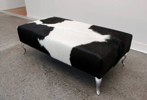 Cowhide Ottoman with Queen Anne Curved Aluminium Legs 120x60x38cm