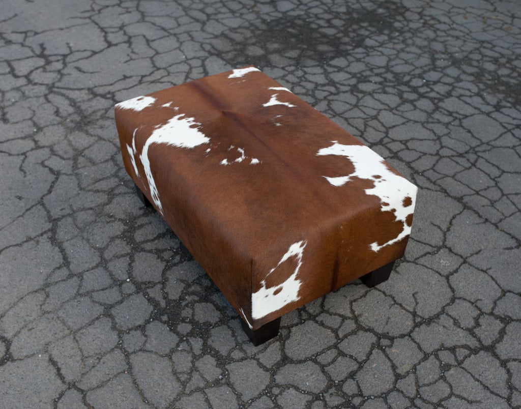 Cowhide Ottoman with Low Wood Legs 80x50x35cm