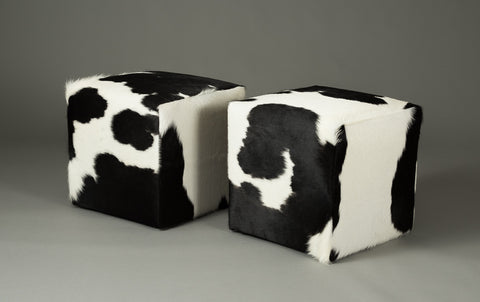 Image of Cowhide Cube #9 & #10 with Invisible Button Glides 46x46x46cm