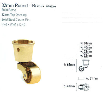 Round Cup & Caster Wheels 32mm - Brass Gold