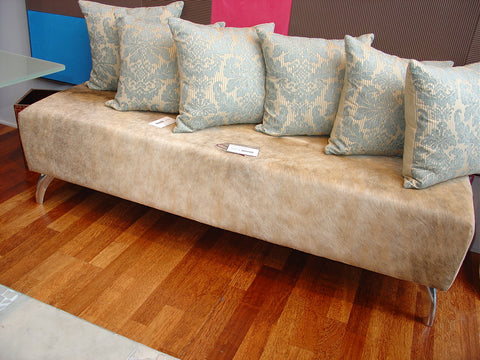 Beige Cowhide Ottoman with Curved Aluminium Legs 135x50x40cm