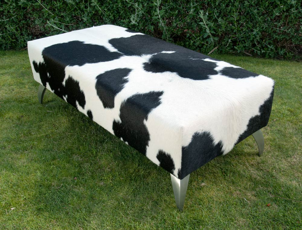 Cowhide Leather Ottoman with Curved Aluminium Legs 120x55x40cm