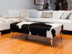Cowhide Ottoman #2 with Queen Anne Curved Aluminium Legs 120x60x38cm