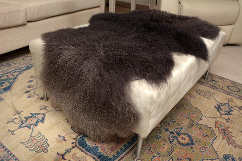 Double Ombre Grey Black Tibetan Lamb Skin