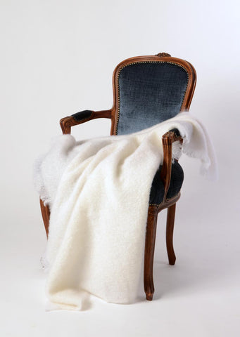 Mohair Throw New Zealand  - Dove White Mohair Chair Throw by Windermere