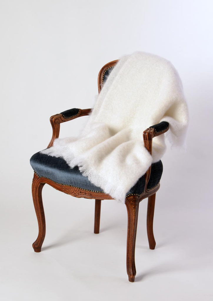 Dove White Mohair Chair Throw by Windermere