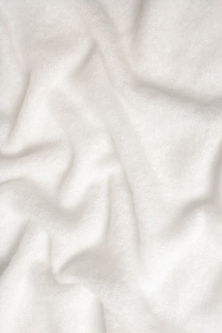 Image of Windermere Dove White Mohair Throw Blanket Texture