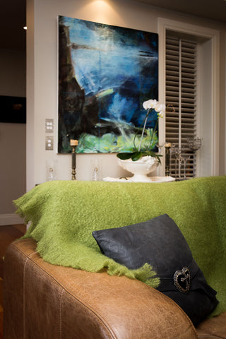 Image of Windermere fern green mohair throw blanket