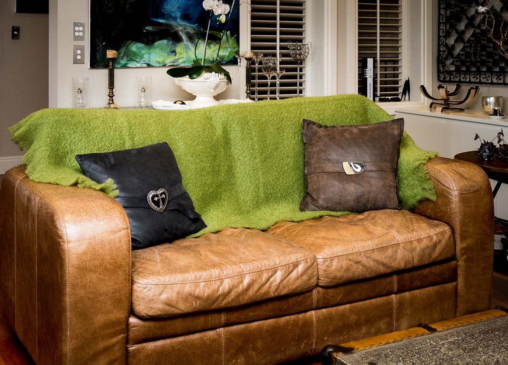 Fern Green Mohair Chair Throw