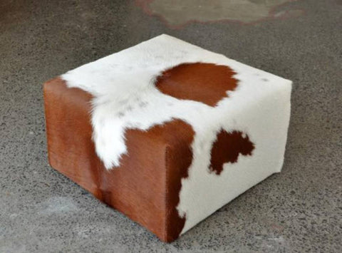Cowhide Cube Footstool with Invisible Button Glides 50x50x30cm