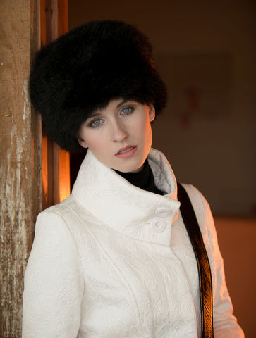 Image of Russian Cossack Taller Design Possum Fur Hat - Black