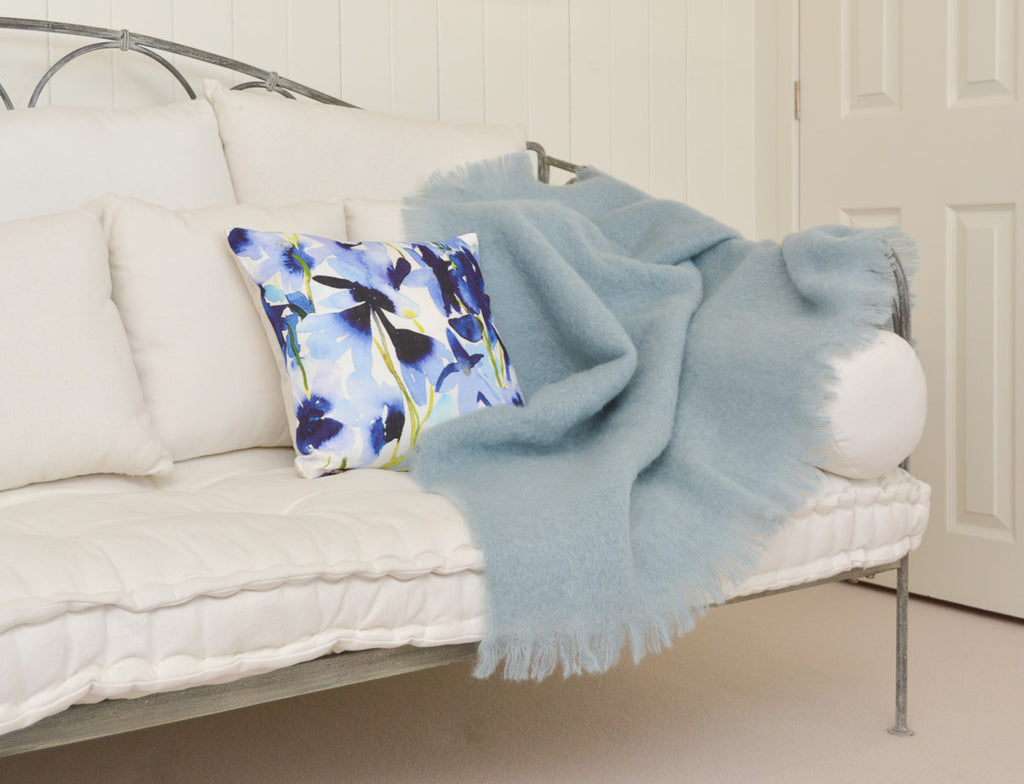 Windermere Glacier Blue Mohair Chair Throw