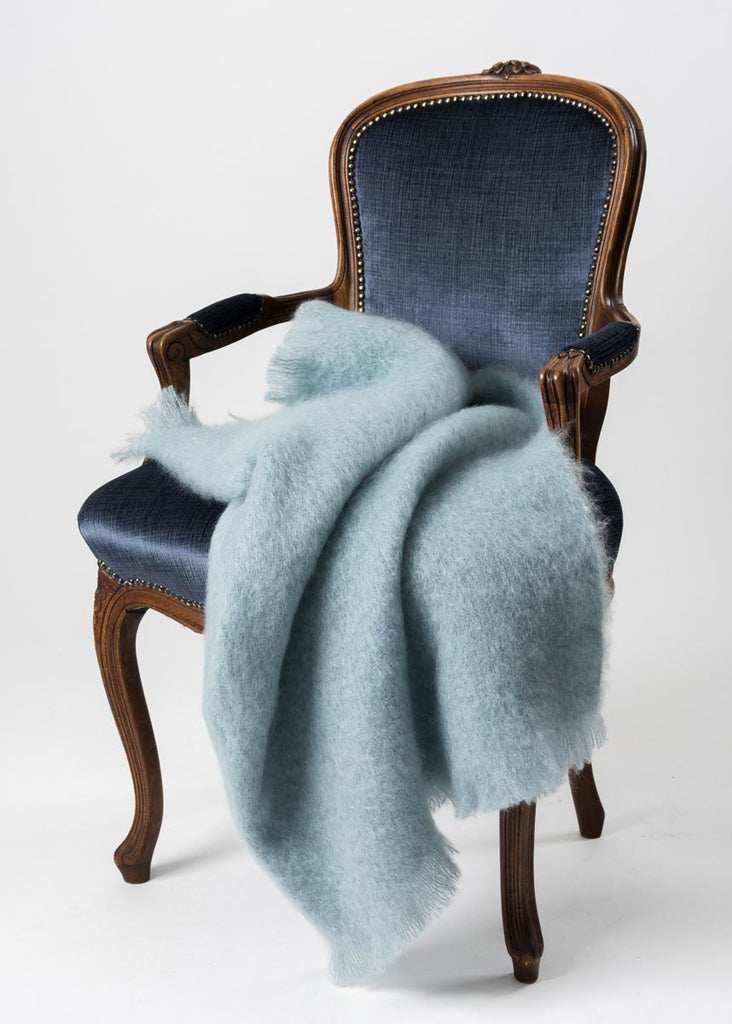 Glacier Blue Mohair Chair Throw