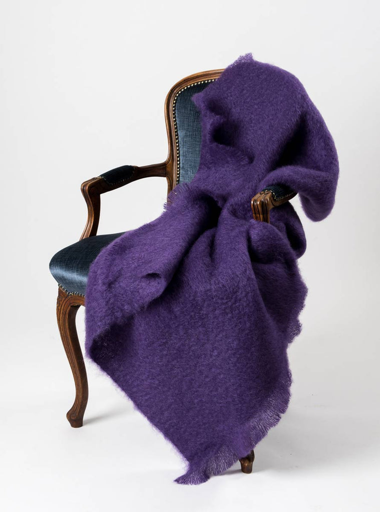 Grape Purple Mohair Throw Blanket