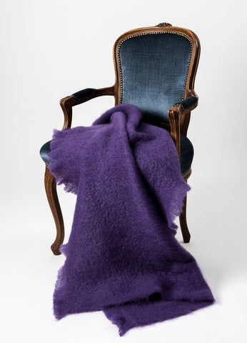 Windermere Grape Purple Mohair Throw Blanket