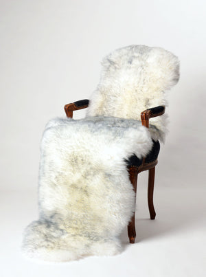 Grey Mist double long sheepskin rug