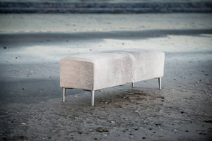 Cowhide Leather Ottoman with Aluminium Legs 120x35x40cm #2