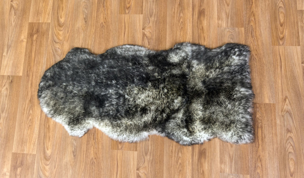 White Grey Tips Sheepskin Rug One and a Half 1.5 Skins 60cm x 130cm