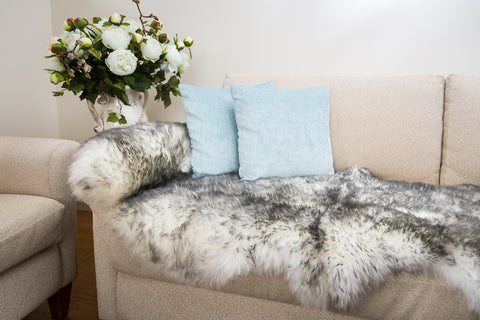 White Grey Tip Longwool Double Sheepskin Rug 60cm x 180cm