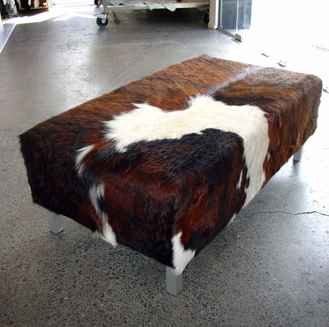 Image of Cowhide Ottoman with Metal Legs 110x60x40cm