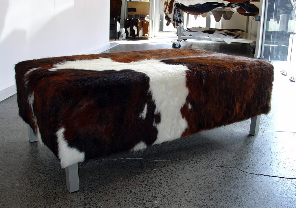 Cowhide Ottoman with Metal Legs 110x60x40cm