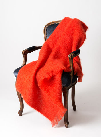 Image of Windermere Hibiscus Orange Mohair Throw Blanket