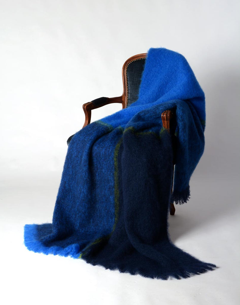 Mohair throw blanket NZ - Horizon blue green