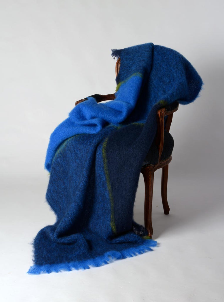 Horizon blue green mohair throw blanket