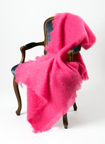 Windermere hot pink mohair chair throw