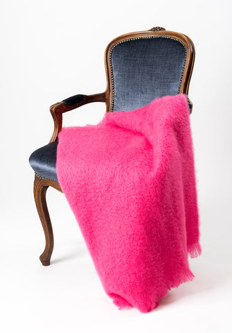 Image of Windermere hot pink mohair throw blanket