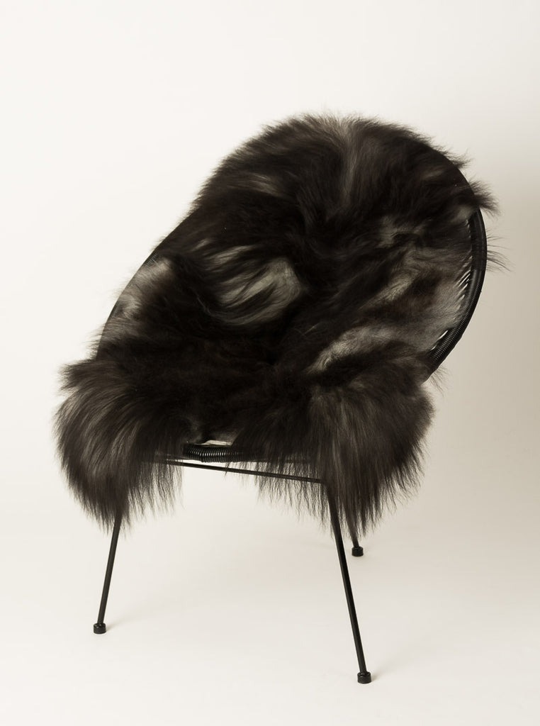 Icelandic Sheepskin #005 - Natural smokey black grey