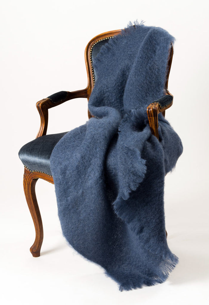 Windermere Indigo Blue Mohair Throw Blanket