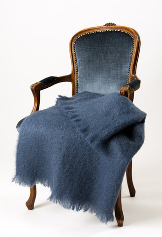 Image of Mohair Chair Throw NZ Windermere Indigo Blue