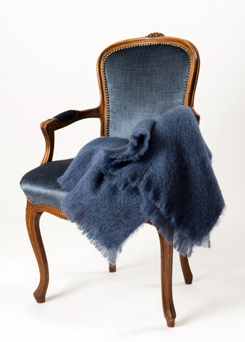 Image of Windermere Indigo Blue Mohair Chair Throw