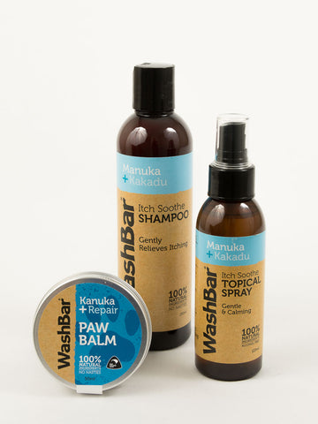 WashBar Itchy Dog Gift Set shampoo, topical spray & paw balm