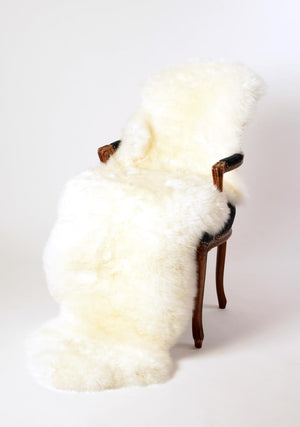 Ivory Wool Sheepskin Rug double length