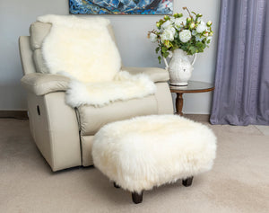 Ivory Woolly Stool Sheepskin Footstool