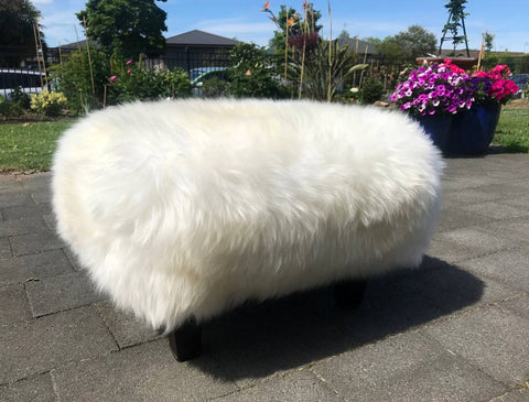 Image of Ivory Woolly Stool Sheepskin Footstool