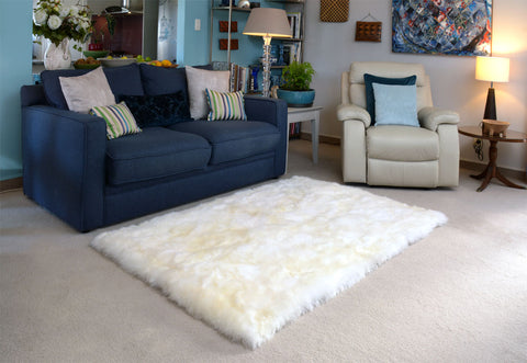 Ivory Wool Rectangle Sheepskin Rug – 120cm x 180cm
