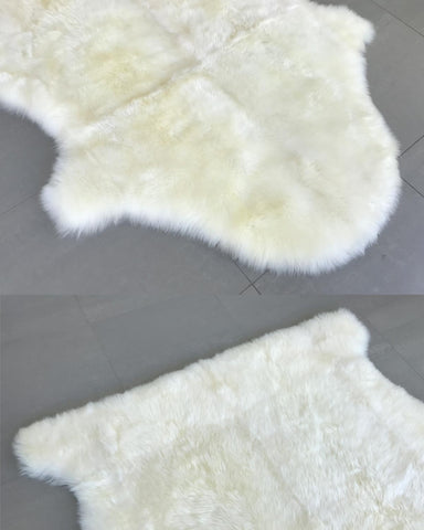 Image of Jumbo sheepskin rug large natural sheep shape