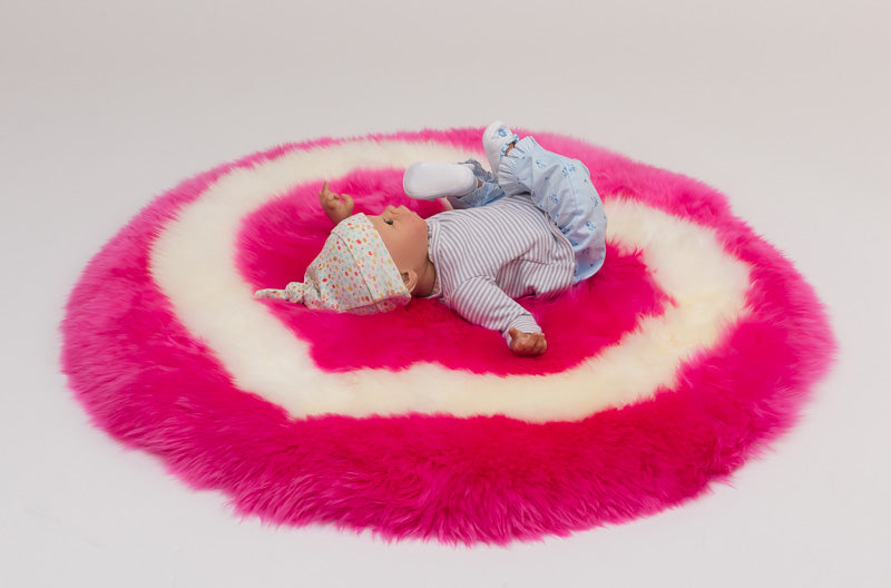 Pink Heart Sheepskin Rug for Kids or Pets
