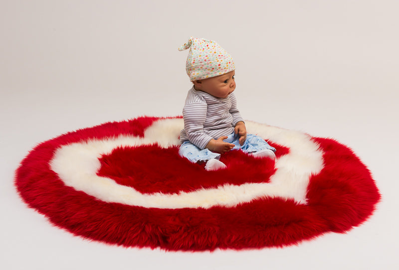 Red Heart Sheepskin Rug for Kids or Pets