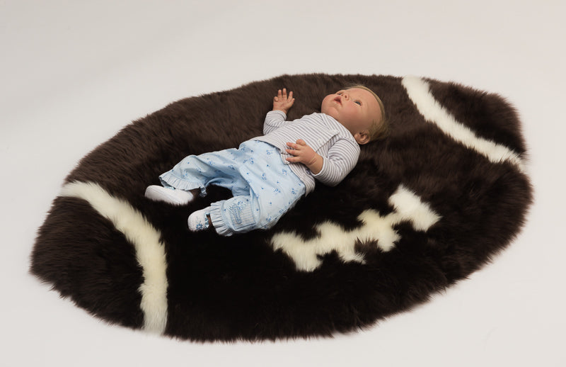 Rugby Ball or Gridiron Sheepskin Rug for Kids or Pets