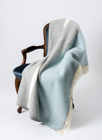 Image of Warwick Shetland Wool Throw Blanket - Kirkcaldy Duck Egg Blue